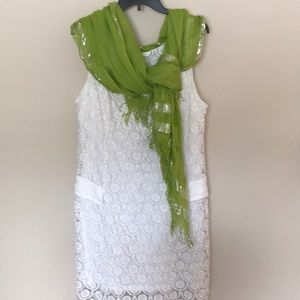 ICE white lace summer dress with lime green scarf
